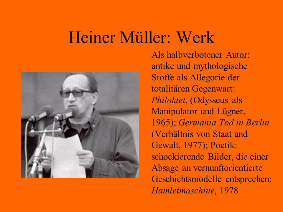 Heiner Müller: Werk Als halbverbotener Autor: antike und mythologische Stoffe als Allegorie der totalitären Gegenwart: Philoktet, (Odysseus als Manipu
