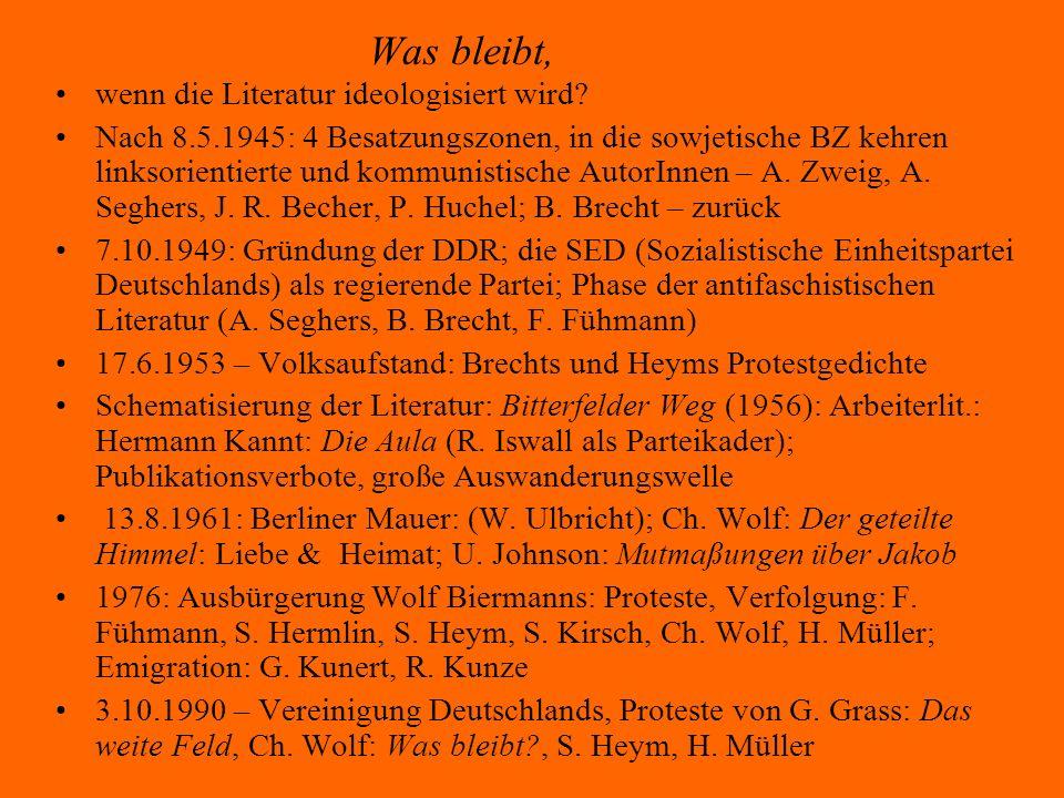 Bertolt Brecht: Leben Augsburg 1898-Berlin (Ost) 1956; studierte 1917-21 Philosophie und Medizin in München (ohne Abschluss), arbeitete 1924-26 an M.Reinhardts Deutschem Theater in Berlin, danach als freier Schriftsteller; Brecht unterstützte die Kommunisten, trat aber nie der KPD bei; emigrierte 1933 (Dänemark, seit 1941 USA), kehrte 1947 nach Europa, 1949 nach Berlin (Ost) zurück; seit 1949 in Berlin (Ost): Berliner Ensemble, zusammen mit seiner Frau H.Weigel eine weltberühmte Experimentierbühne.