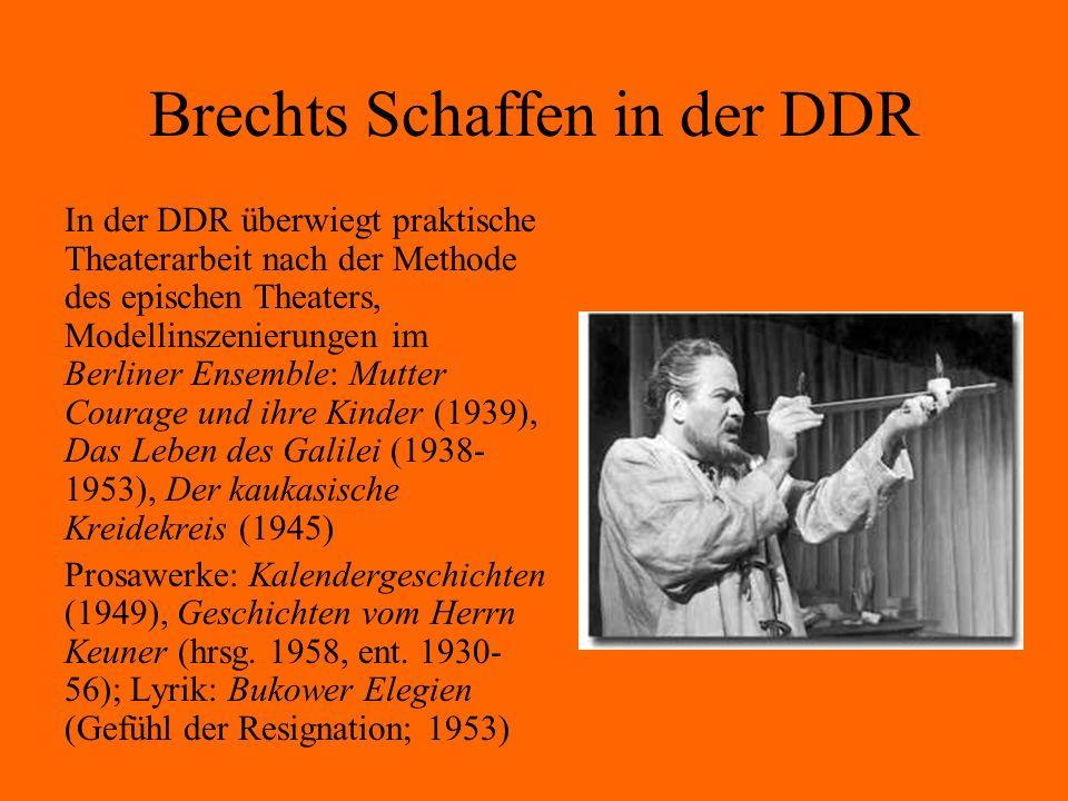 Brechts Schaffen in der DDR In der DDR überwiegt praktische Theaterarbeit nach der Methode des epischen Theaters, Modellinszenierungen im Berliner Ens