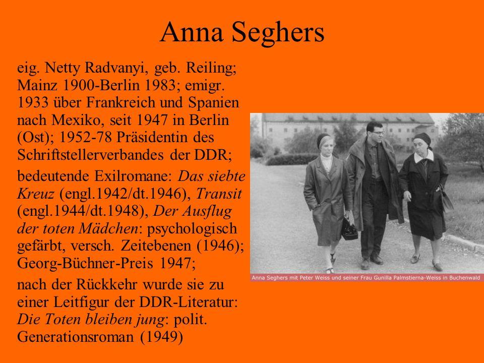 Anna Seghers eig. Netty Radvanyi, geb. Reiling; Mainz 1900-Berlin 1983; emigr. 1933 über Frankreich und Spanien nach Mexiko, seit 1947 in Berlin (Ost)