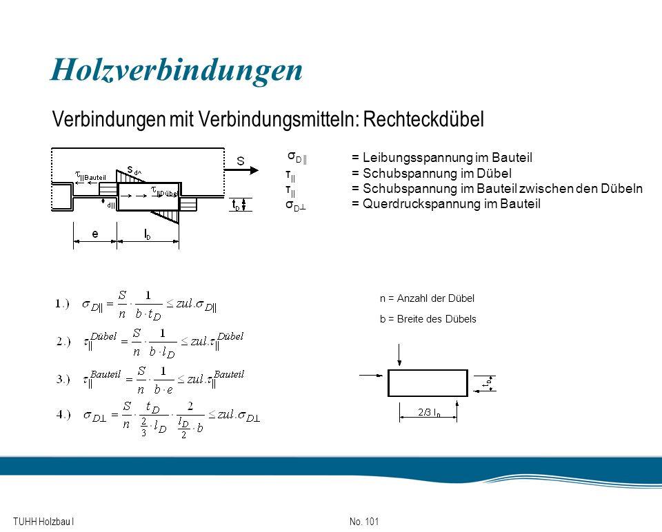 TUHH Holzbau I No. 101 Holzverbindungen Verbindungen mit Verbindungsmitteln: Rechteckdübel σDσD = Leibungsspannung im Bauteil τ || = Schubspannung im