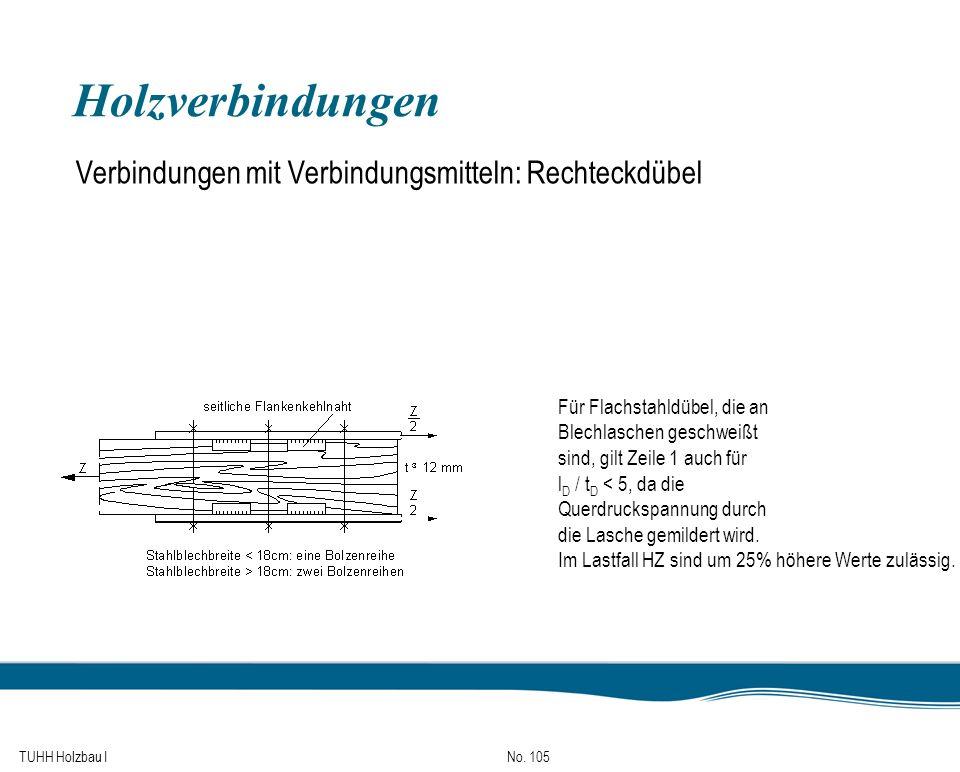 TUHH Holzbau I No. 105 Holzverbindungen Verbindungen mit Verbindungsmitteln: Rechteckdübel Für Flachstahldübel, die an Blechlaschen geschweißt sind, g