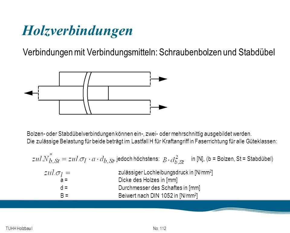 TUHH Holzbau I No. 112 Holzverbindungen Verbindungen mit Verbindungsmitteln: Schraubenbolzen und Stabdübel Bolzen- oder Stabdübelverbindungen können e