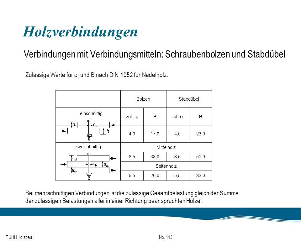 TUHH Holzbau I No. 113 Holzverbindungen Verbindungen mit Verbindungsmitteln: Schraubenbolzen und Stabdübel Zulässige Werte für σ l und B nach DIN 1052