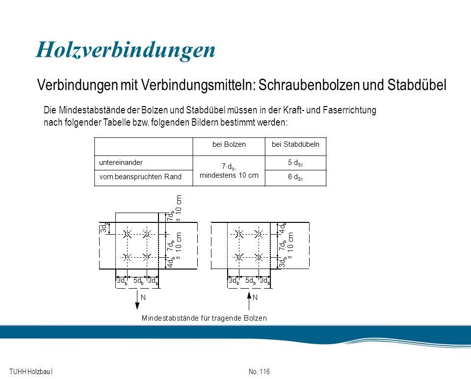 TUHH Holzbau I No. 116 Holzverbindungen Verbindungen mit Verbindungsmitteln: Schraubenbolzen und Stabdübel Die Mindestabstände der Bolzen und Stabdübe