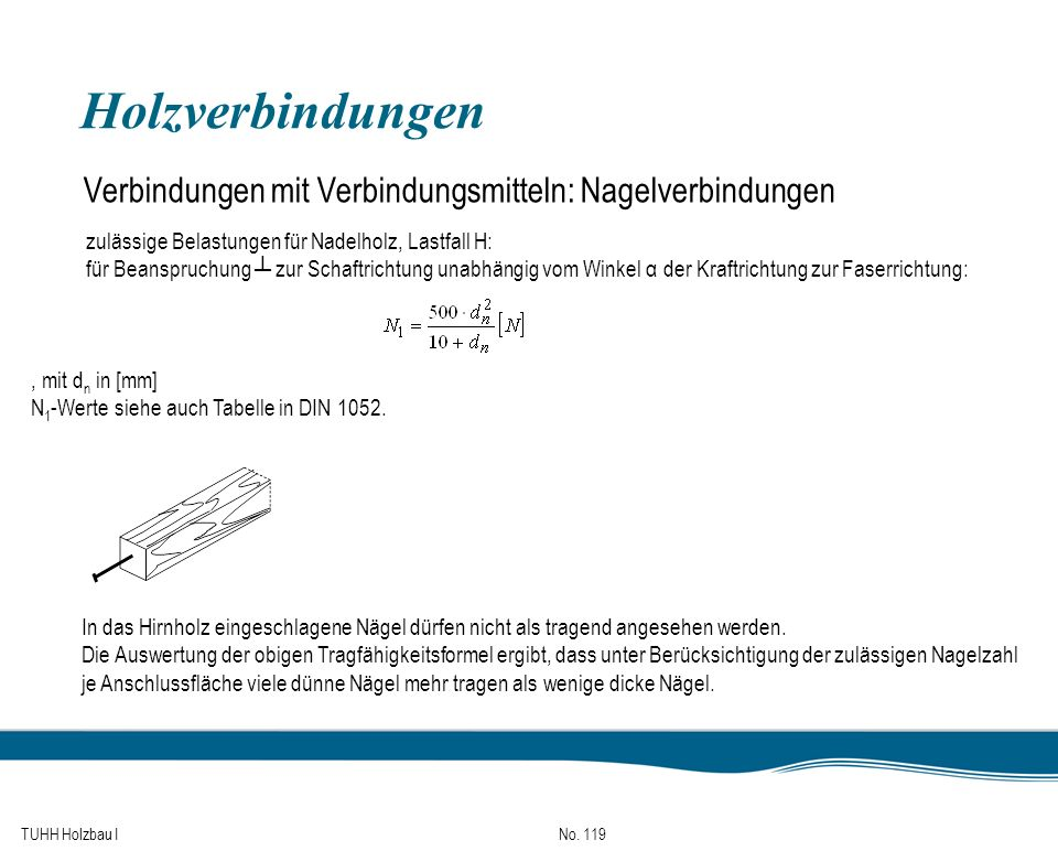 TUHH Holzbau I No. 119 Holzverbindungen Verbindungen mit Verbindungsmitteln: Nagelverbindungen zulässige Belastungen für Nadelholz, Lastfall H: für Be
