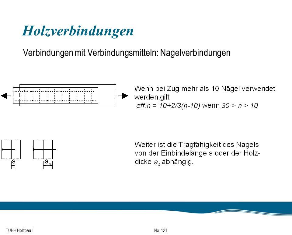 TUHH Holzbau I No. 121 Holzverbindungen Verbindungen mit Verbindungsmitteln: Nagelverbindungen