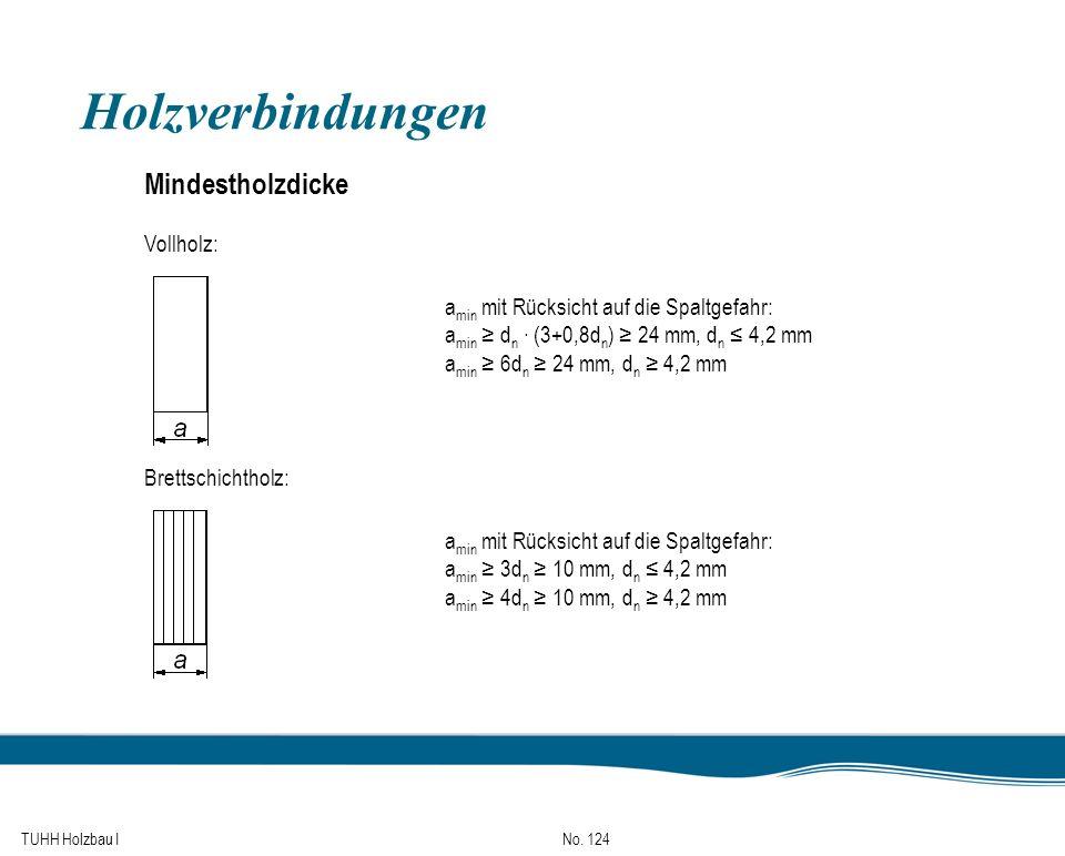 TUHH Holzbau I No. 124 Holzverbindungen Mindestholzdicke Vollholz: a min mit Rücksicht auf die Spaltgefahr: a min d n (3+0,8d n ) 24 mm, d n 4,2 mm a