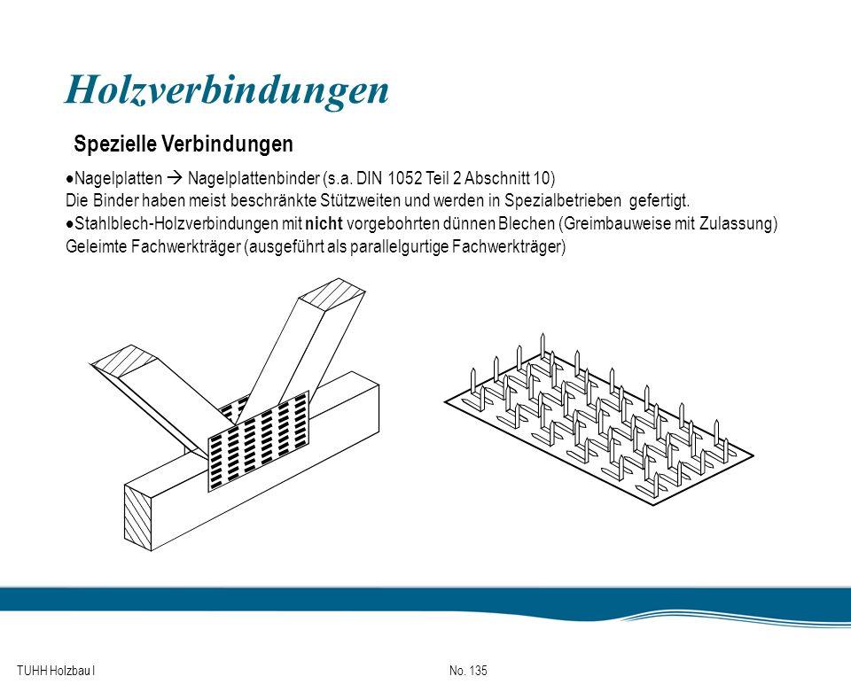 TUHH Holzbau I No. 135 Holzverbindungen Spezielle Verbindungen Nagelplatten Nagelplattenbinder (s.a. DIN 1052 Teil 2 Abschnitt 10) Die Binder haben me