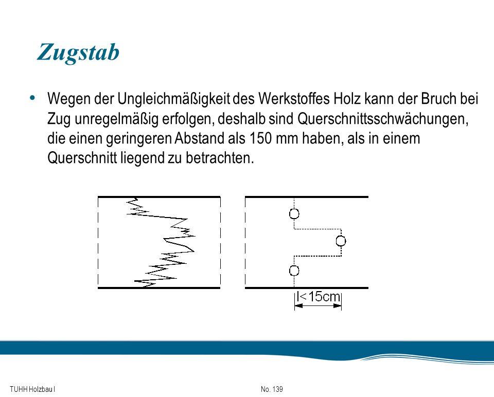 TUHH Holzbau I No. 139 Zugstab Wegen der Ungleichmäßigkeit des Werkstoffes Holz kann der Bruch bei Zug unregelmäßig erfolgen, deshalb sind Querschnitt