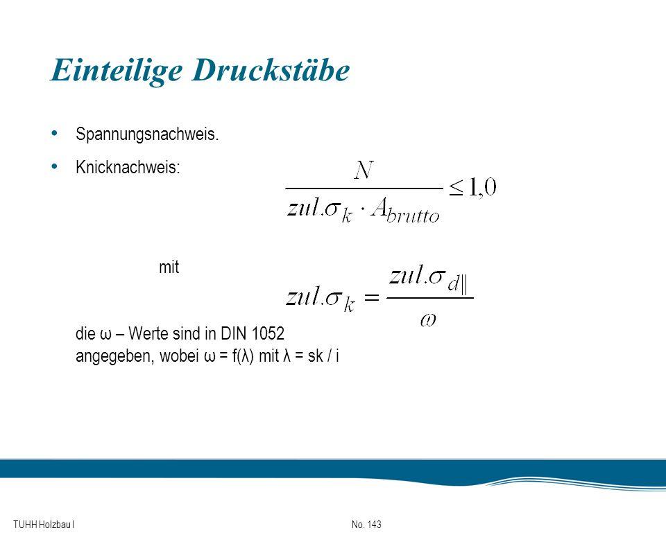TUHH Holzbau I No. 143 Einteilige Druckstäbe Spannungsnachweis. Knicknachweis: mit die ω – Werte sind in DIN 1052 angegeben, wobei ω = f(λ) mit λ = sk