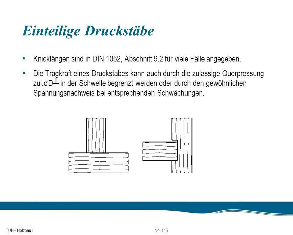 TUHH Holzbau I No. 145 Einteilige Druckstäbe Knicklängen sind in DIN 1052, Abschnitt 9.2 für viele Fälle angegeben. Die Tragkraft eines Druckstabes ka