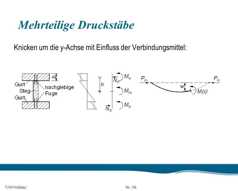 TUHH Holzbau I No. 148 Mehrteilige Druckstäbe Knicken um die y-Achse mit Einfluss der Verbindungsmittel: