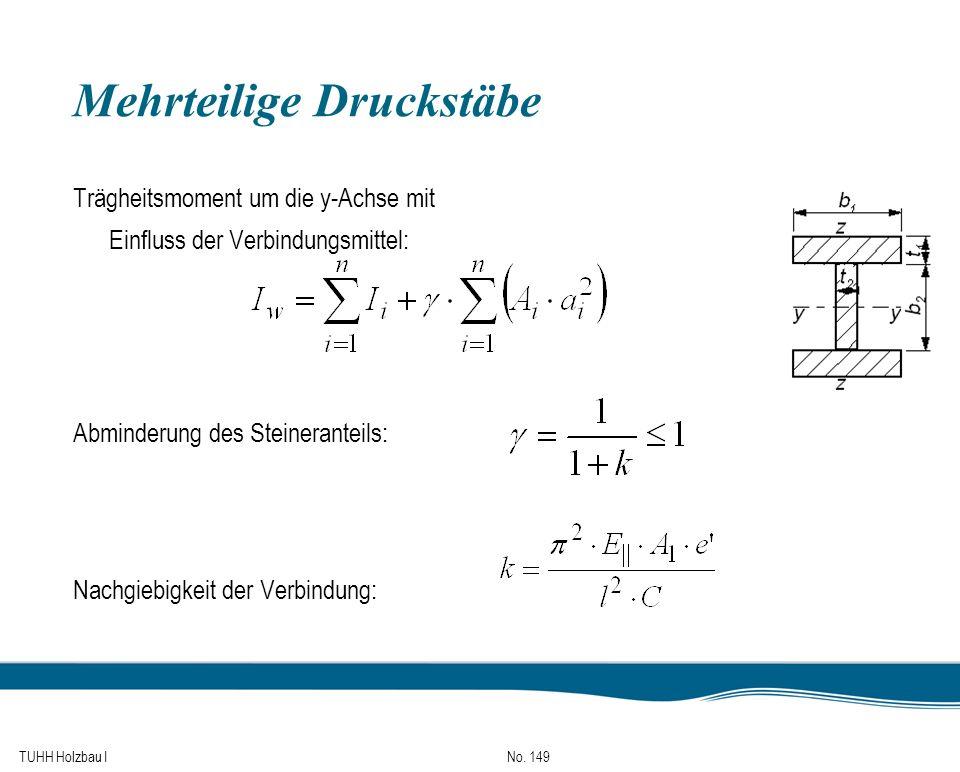 TUHH Holzbau I No. 149 Mehrteilige Druckstäbe Trägheitsmoment um die y-Achse mit Einfluss der Verbindungsmittel: Abminderung des Steineranteils: Nachg