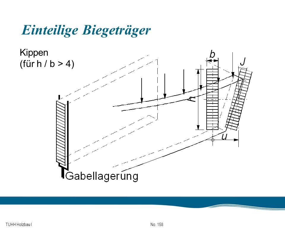TUHH Holzbau I No. 158 Einteilige Biegeträger Kippen (für h / b > 4)