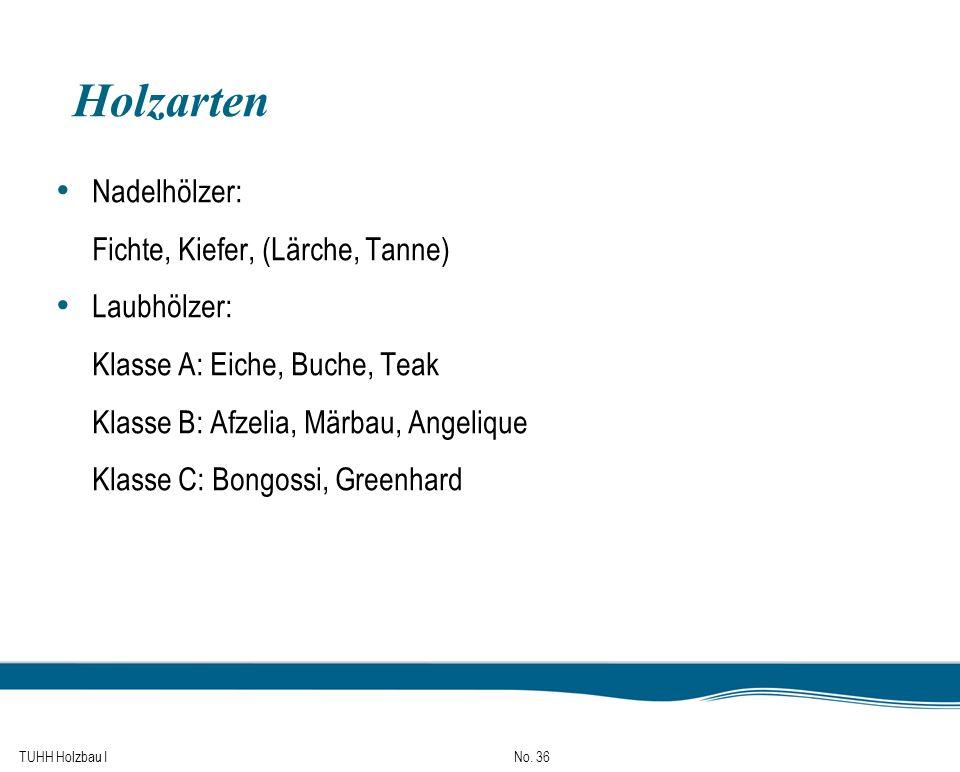 TUHH Holzbau I No. 36 Holzarten Nadelhölzer: Fichte, Kiefer, (Lärche, Tanne) Laubhölzer: Klasse A: Eiche, Buche, Teak Klasse B: Afzelia, Märbau, Angel