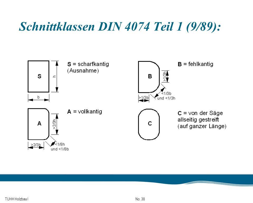 TUHH Holzbau I No. 38 Schnittklassen DIN 4074 Teil 1 (9/89):