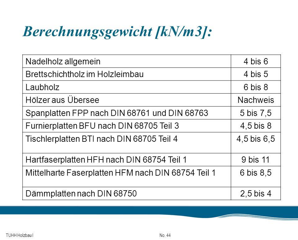TUHH Holzbau I No. 44 Berechnungsgewicht [kN/m3]: Nadelholz allgemein4 bis 6 Brettschichtholz im Holzleimbau4 bis 5 Laubholz6 bis 8 Hölzer aus Übersee