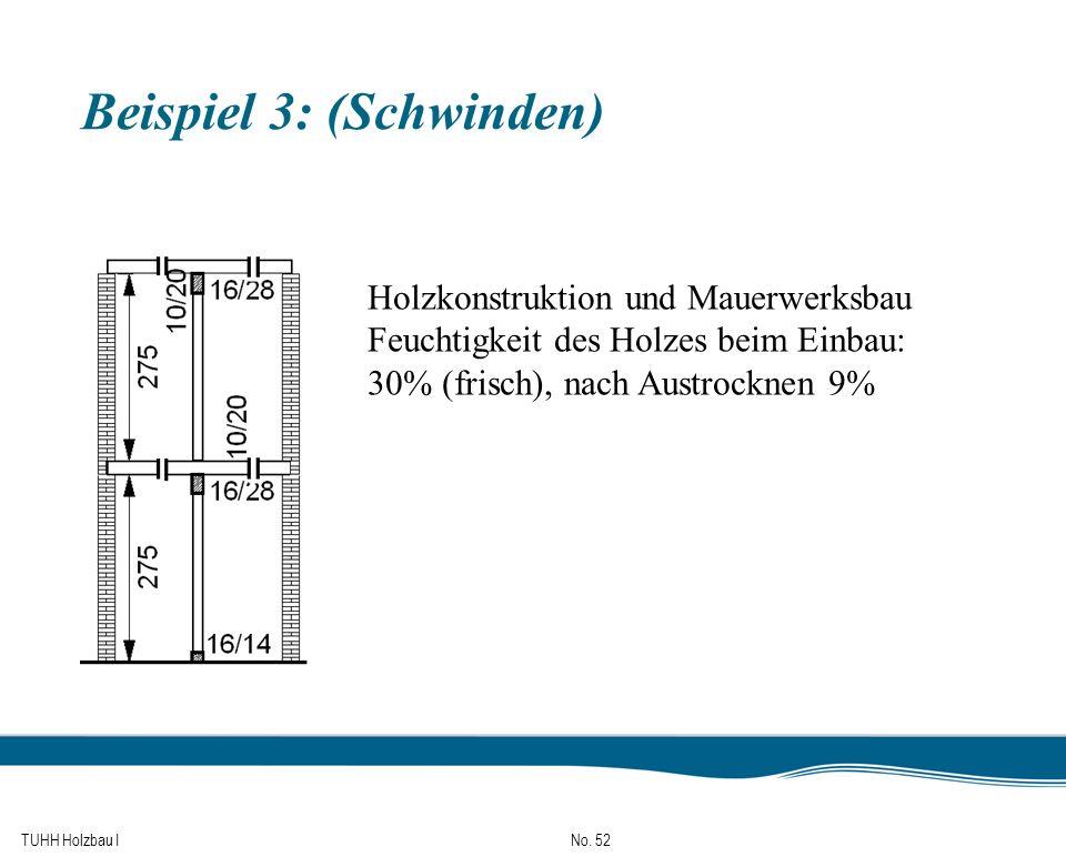 TUHH Holzbau I No. 52 Beispiel 3: (Schwinden) Holzkonstruktion und Mauerwerksbau Feuchtigkeit des Holzes beim Einbau: 30% (frisch), nach Austrocknen 9