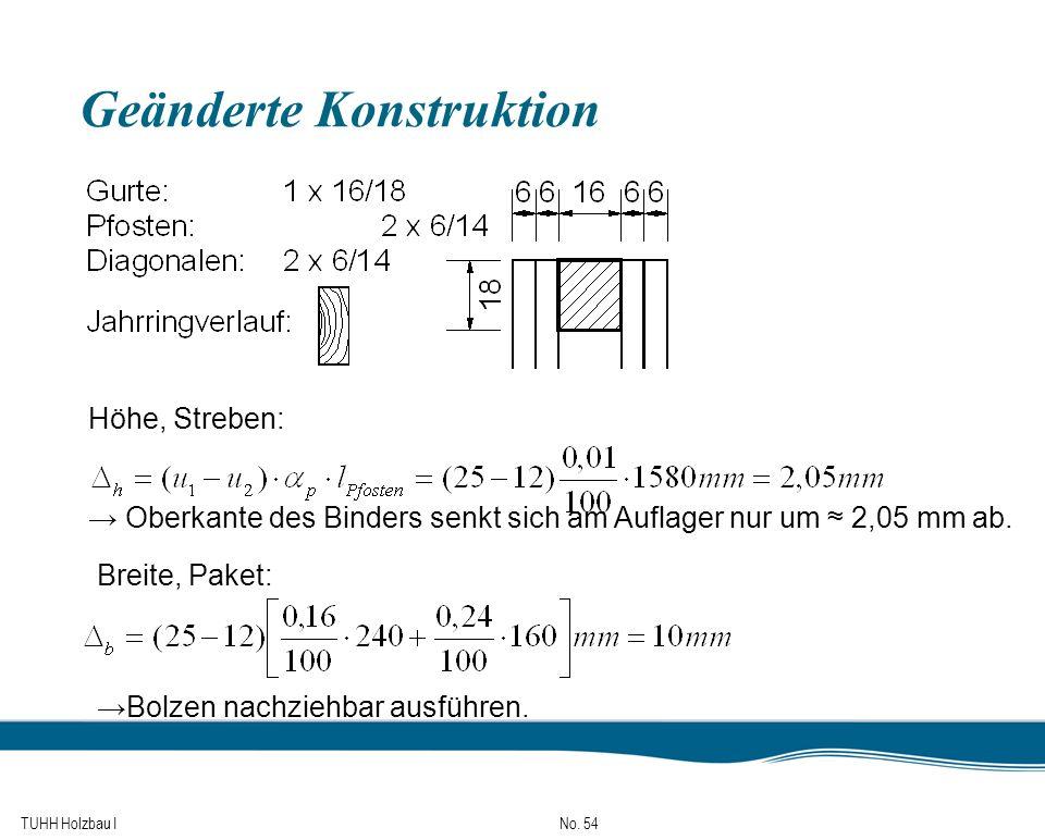 TUHH Holzbau I No. 54 Geänderte Konstruktion Höhe, Streben: Oberkante des Binders senkt sich am Auflager nur um 2,05 mm ab. Bolzen nachziehbar ausführ