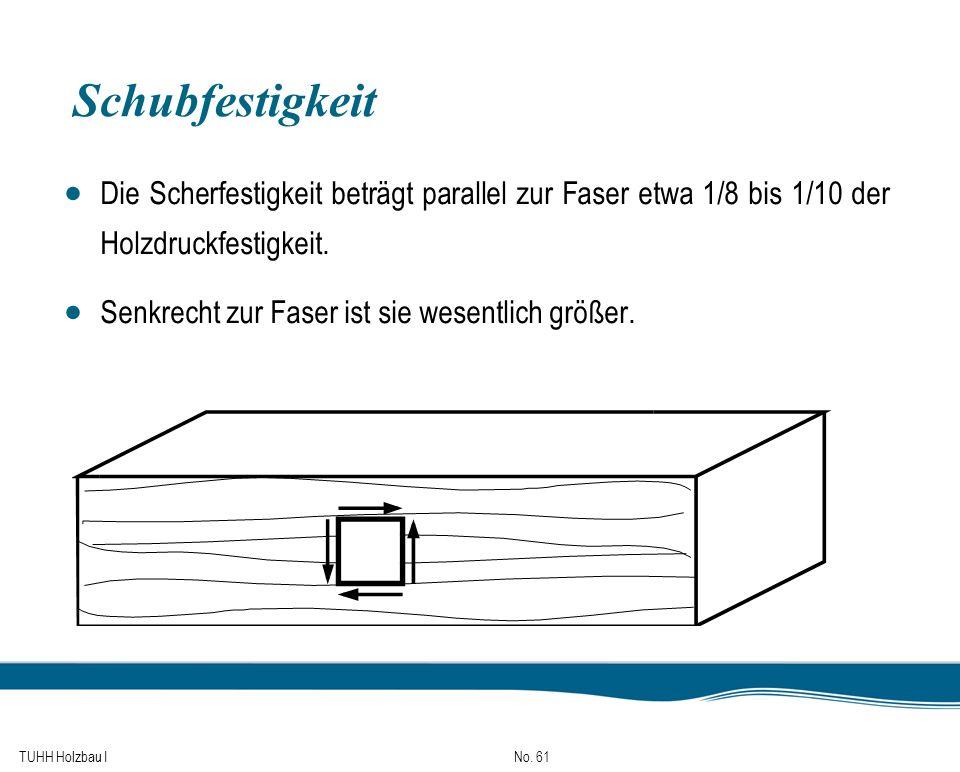 TUHH Holzbau I No. 61 Schubfestigkeit Die Scherfestigkeit beträgt parallel zur Faser etwa 1/8 bis 1/10 der Holzdruckfestigkeit. Senkrecht zur Faser is