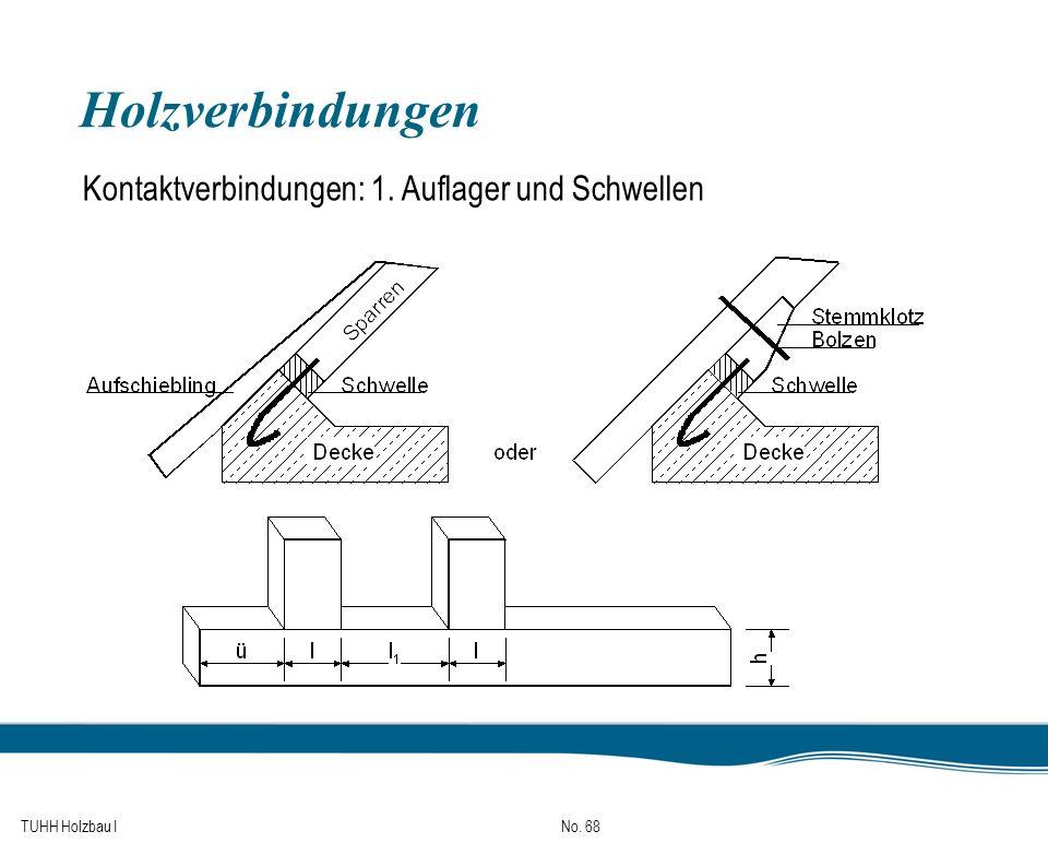 TUHH Holzbau I No. 68 Holzverbindungen Kontaktverbindungen: 1. Auflager und Schwellen