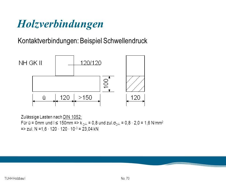 TUHH Holzbau I No. 70 Holzverbindungen Kontaktverbindungen: Beispiel Schwellendruck Zulässige Lasten nach DIN 1052: Für ü = 0mm und l 150mm => k D = 0