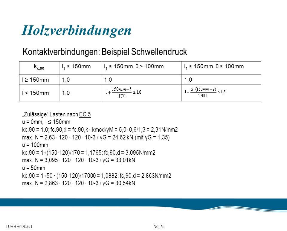 TUHH Holzbau I No. 75 Holzverbindungen k c,90 l 1 150mml 1 150mm, ü > 100mml 1 150mm, ü 100mm l 150mm1,0 l < 150mm1,0 Kontaktverbindungen: Beispiel Sc
