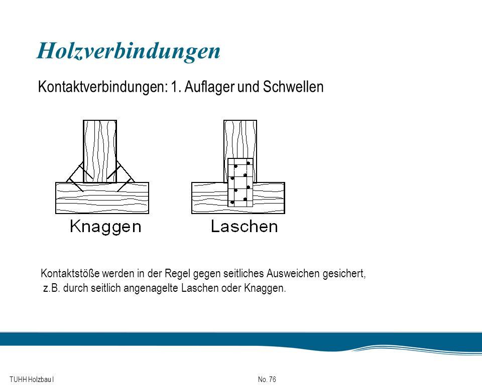 TUHH Holzbau I No. 76 Holzverbindungen Kontaktverbindungen: 1. Auflager und Schwellen Kontaktstöße werden in der Regel gegen seitliches Ausweichen ges