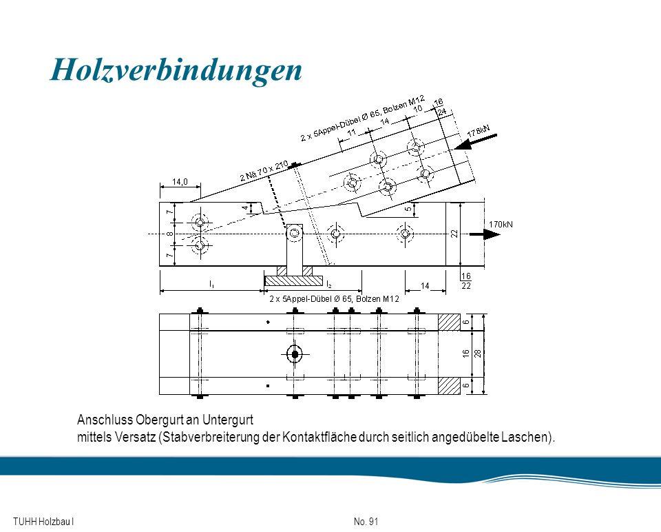 TUHH Holzbau I No. 91 Holzverbindungen Anschluss Obergurt an Untergurt mittels Versatz (Stabverbreiterung der Kontaktfläche durch seitlich angedübelte