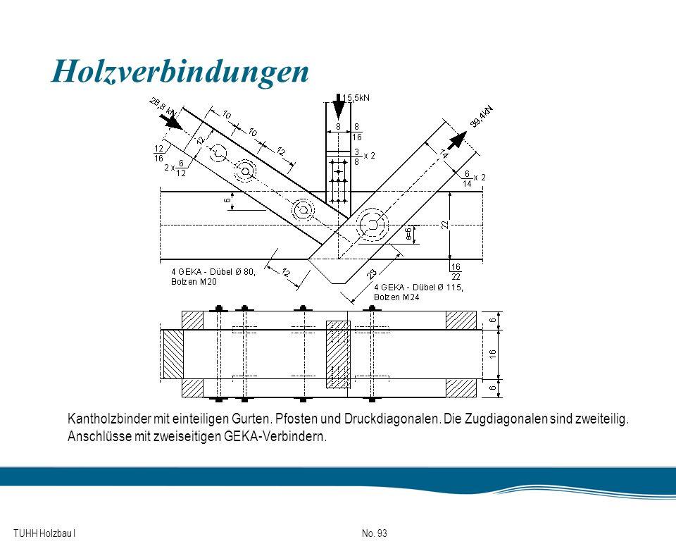 TUHH Holzbau I No. 93 Holzverbindungen Kantholzbinder mit einteiligen Gurten. Pfosten und Druckdiagonalen. Die Zugdiagonalen sind zweiteilig. Anschlüs