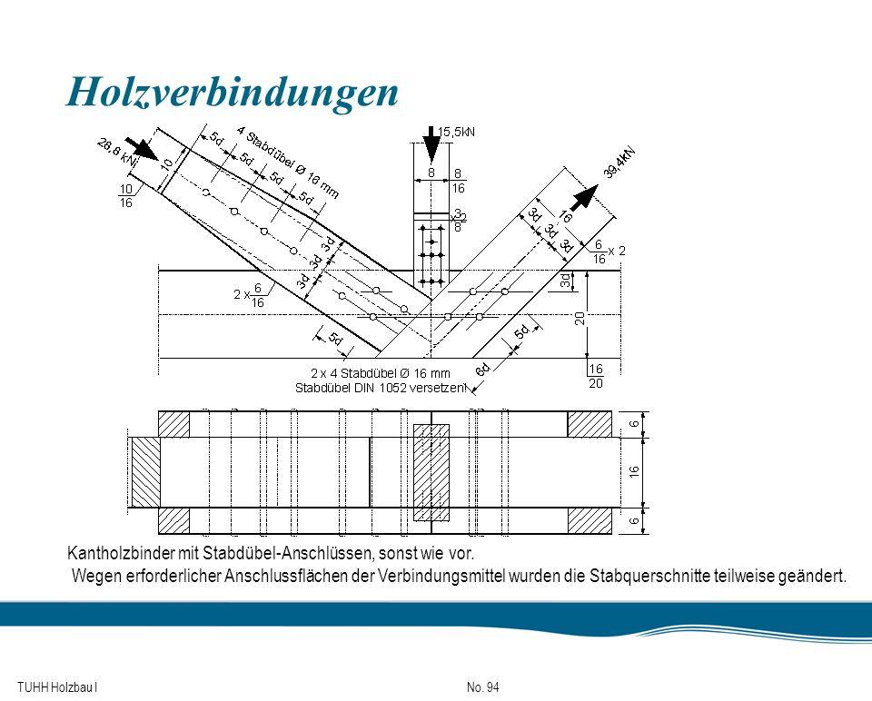 TUHH Holzbau I No. 94 Holzverbindungen Kantholzbinder mit Stabdübel-Anschlüssen, sonst wie vor. Wegen erforderlicher Anschlussflächen der Verbindungsm