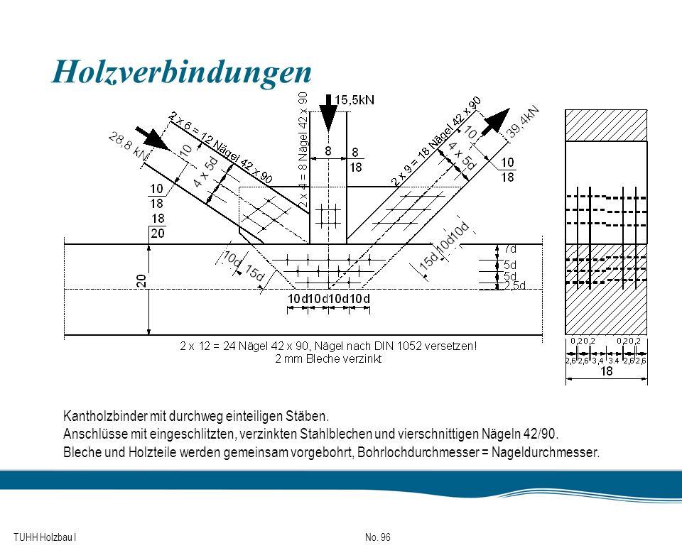TUHH Holzbau I No. 96 Holzverbindungen Kantholzbinder mit durchweg einteiligen Stäben. Anschlüsse mit eingeschlitzten, verzinkten Stahlblechen und vie