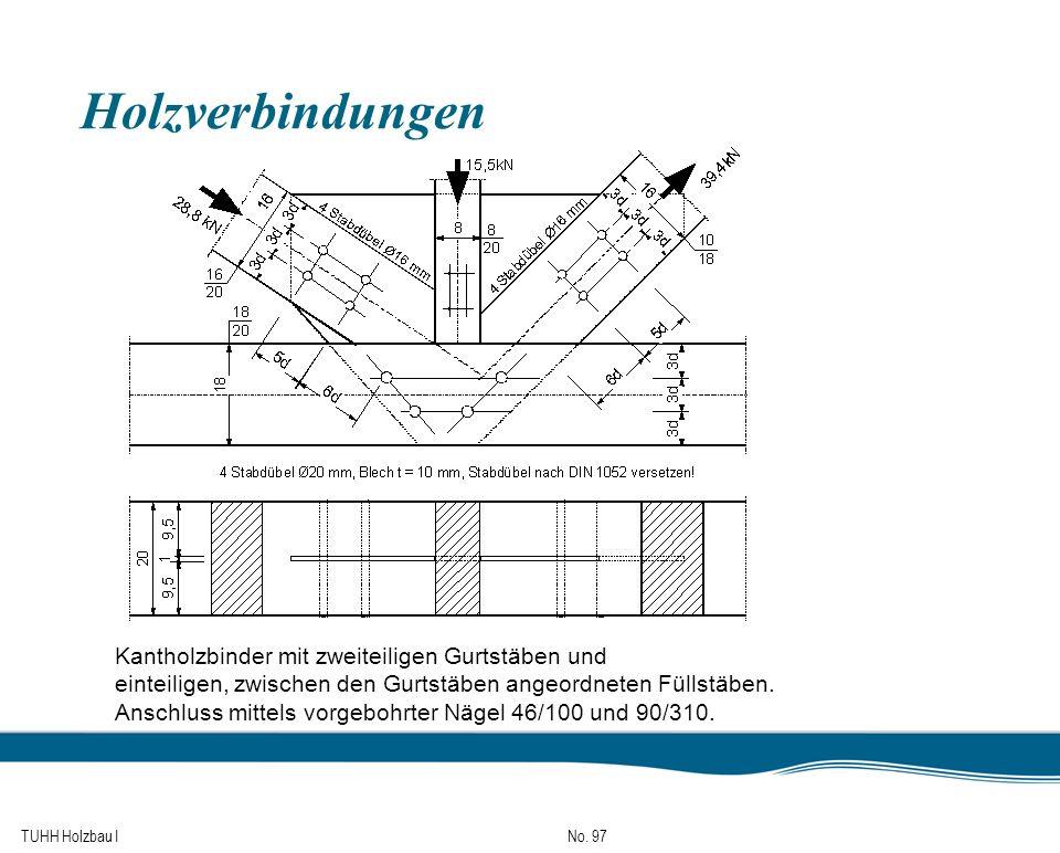 TUHH Holzbau I No. 97 Holzverbindungen Kantholzbinder mit zweiteiligen Gurtstäben und einteiligen, zwischen den Gurtstäben angeordneten Füllstäben. An