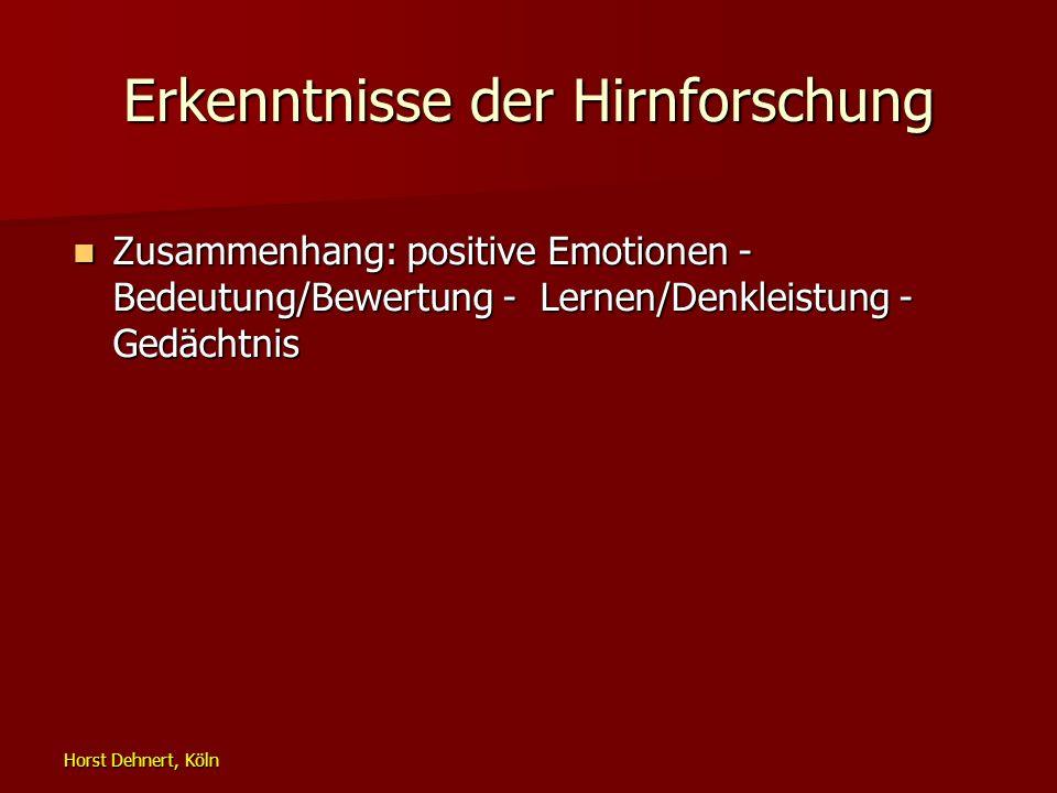 Horst Dehnert, Köln Erkenntnisse der Hirnforschung Zusammenhang: positive Emotionen - Bedeutung/Bewertung - Lernen/Denkleistung - Gedächtnis Zusammenh