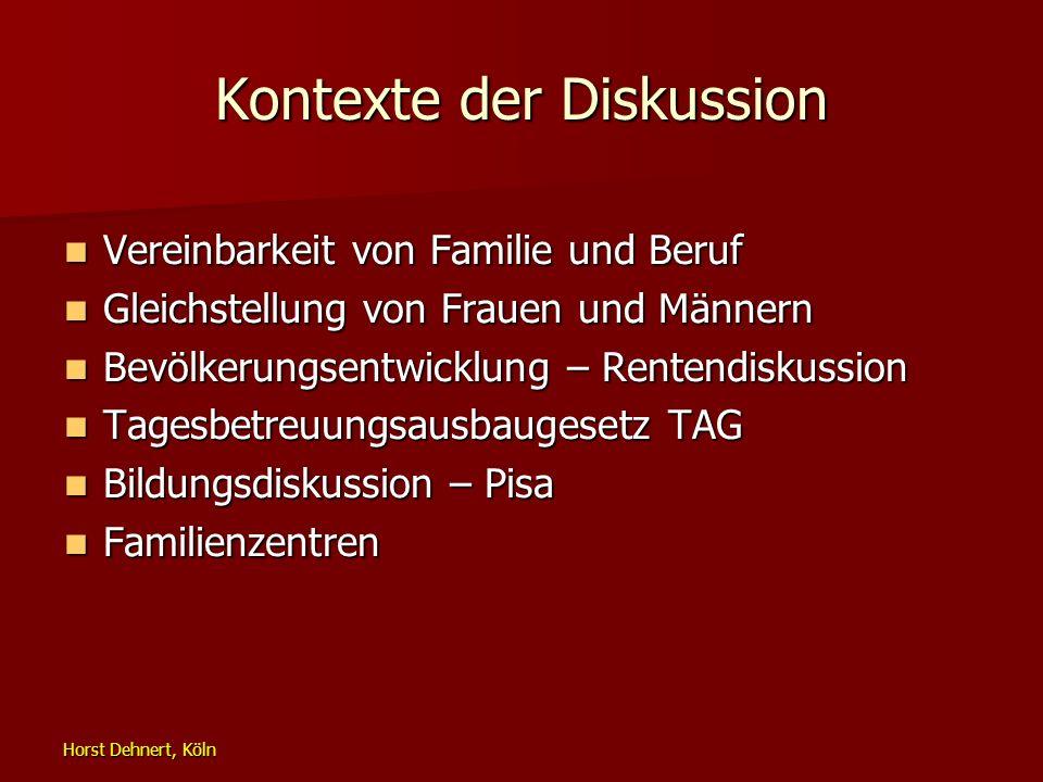 Horst Dehnert, Köln Kontexte der Diskussion Vereinbarkeit von Familie und Beruf Vereinbarkeit von Familie und Beruf Gleichstellung von Frauen und Männ