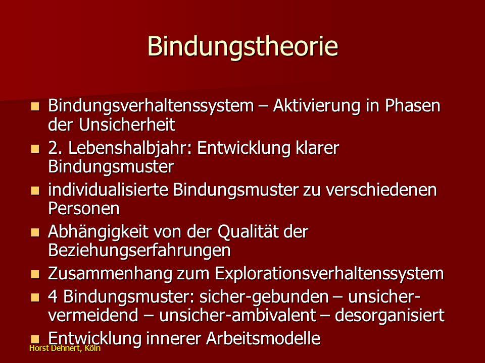 Horst Dehnert, Köln Bindungstheorie Bindungsverhaltenssystem – Aktivierung in Phasen der Unsicherheit Bindungsverhaltenssystem – Aktivierung in Phasen