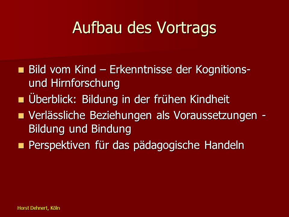 Horst Dehnert, Köln Aufbau des Vortrags Bild vom Kind – Erkenntnisse der Kognitions- und Hirnforschung Bild vom Kind – Erkenntnisse der Kognitions- un