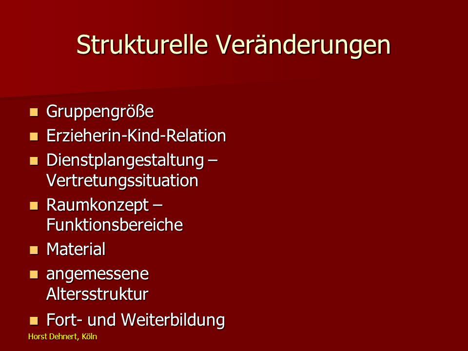 Horst Dehnert, Köln Strukturelle Veränderungen Gruppengröße Gruppengröße Erzieherin-Kind-Relation Erzieherin-Kind-Relation Dienstplangestaltung – Vert