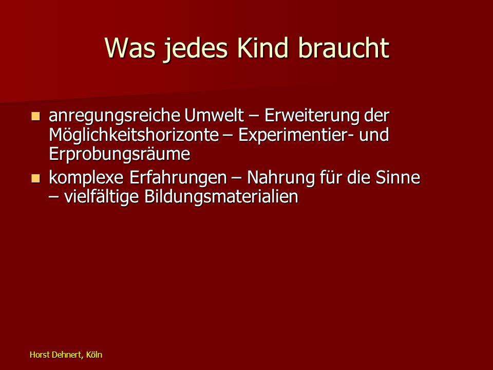 Horst Dehnert, Köln Was jedes Kind braucht anregungsreiche Umwelt – Erweiterung der Möglichkeitshorizonte – Experimentier- und Erprobungsräume anregun
