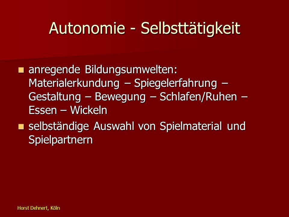 Horst Dehnert, Köln Autonomie - Selbsttätigkeit anregende Bildungsumwelten: Materialerkundung – Spiegelerfahrung – Gestaltung – Bewegung – Schlafen/Ru