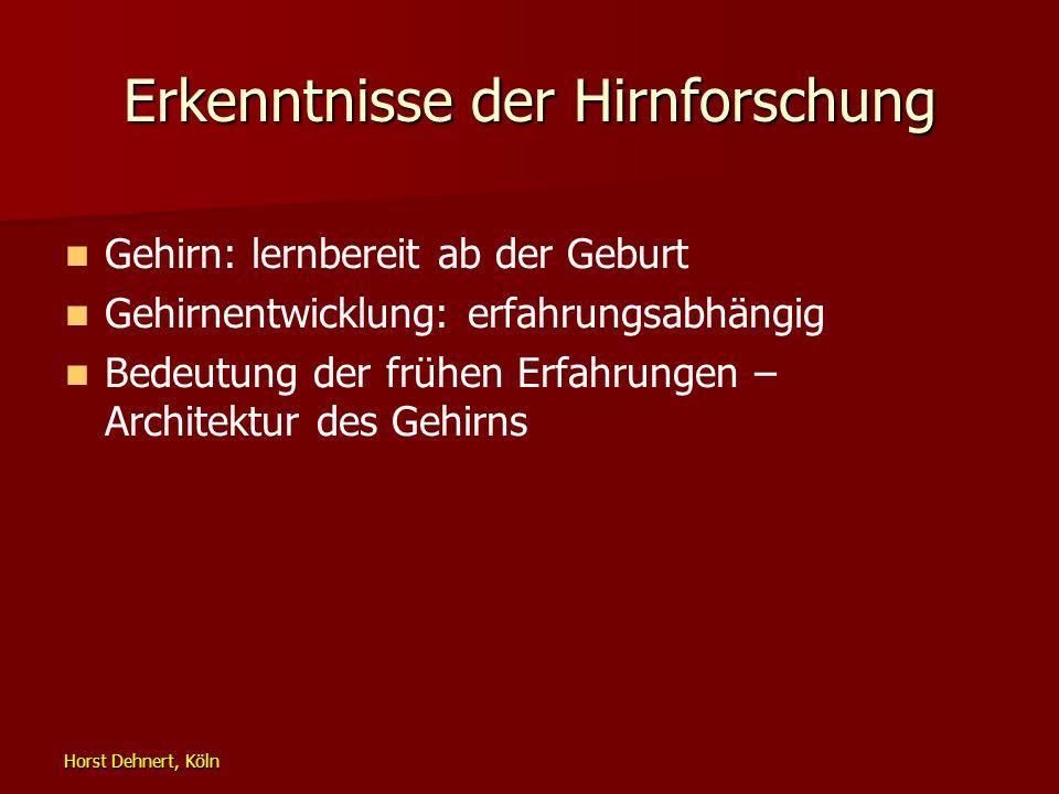 Horst Dehnert, Köln Erkenntnisse der Hirnforschung Gehirn: lernbereit ab der Geburt Gehirnentwicklung: erfahrungsabhängig Bedeutung der frühen Erfahru