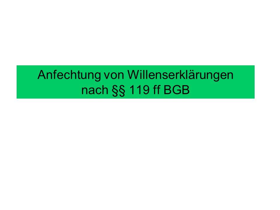Anfechtung von Willenserklärungen nach §§ 119 ff BGB