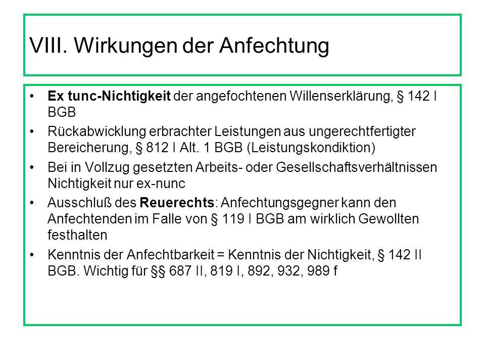 VII. Ausschluß der Anfechtung bei Bestätigung, § 144 BGB Bestätigungswille Auch konkludent möglich (z.B. Durchführung des Vertrags in Kenntnis der Anf