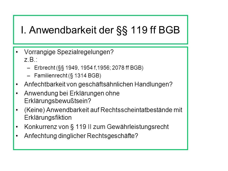 I.Anwendbarkeit der §§ 119 ff BGB Vorrangige Spezialregelungen.