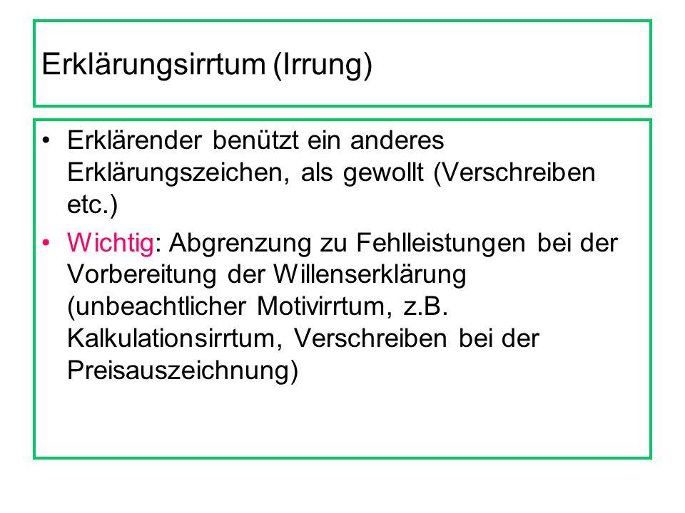 Erklärungsirrtum (Irrung) Erklärender benützt ein anderes Erklärungszeichen, als gewollt (Verschreiben etc.) Wichtig: Abgrenzung zu Fehlleistungen bei der Vorbereitung der Willenserklärung (unbeachtlicher Motivirrtum, z.B.
