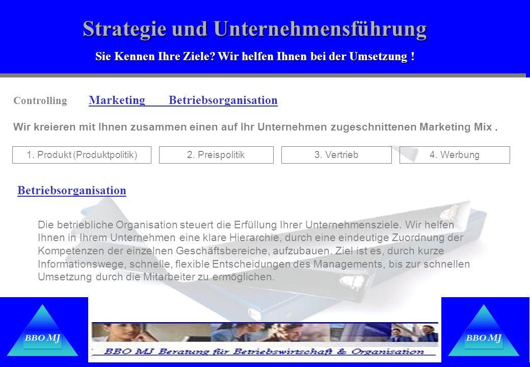 Strategie und Unternehmensführung Sie Kennen Ihre Ziele? Wir helfen Ihnen bei der Umsetzung ! Controlling Marketing Betriebsorganisation Wir kreieren