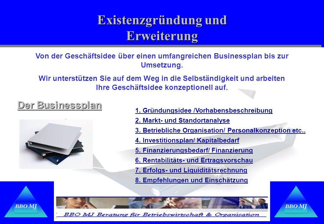 Existenzgründung und Erweiterung Der Businessplan Von der Geschäftsidee über einen umfangreichen Businessplan bis zur Umsetzung. Wir unterstützen Sie