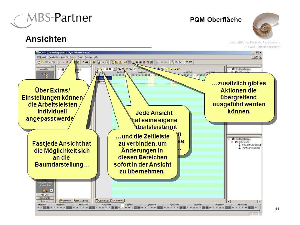 ganzheitliches Projekt-, Ressourcen- und Qualitätsmanagement 11 PQM Oberfläche Ansichten Jede Ansicht hat seine eigene Arbeitsleiste mit speziellen Aktionen die sich nur auf diese Ansicht beziehen… …zusätzlich gibt es Aktionen die übergreifend ausgeführt werden können.