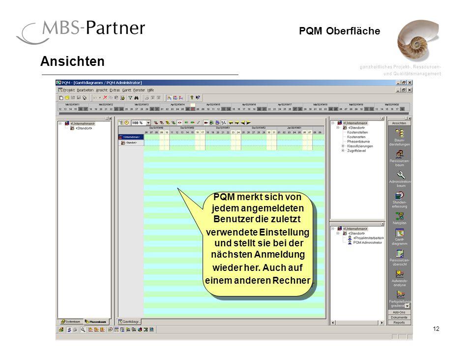 ganzheitliches Projekt-, Ressourcen- und Qualitätsmanagement 12 PQM Oberfläche Ansichten PQM merkt sich von jedem angemeldeten Benutzer die zuletzt verwendete Einstellung und stellt sie bei der nächsten Anmeldung wieder her.